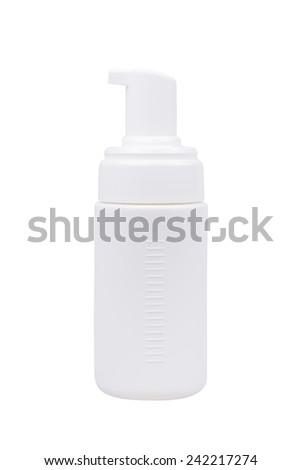Gel Foam or Liquid Soap Dispenser Pump Plastic white Bottle on white background. - stock photo