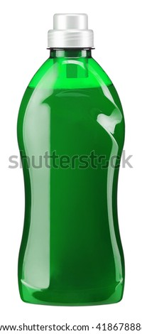 Gel is a water softener for washing machines. Photography of green plastic bottle with liquid laundry detergent, cleaning agent, bleach or fabric softener - isolated on white background - stock photo