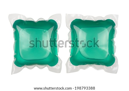Gel laundry capsules isolated on white background. With clipping path - stock photo