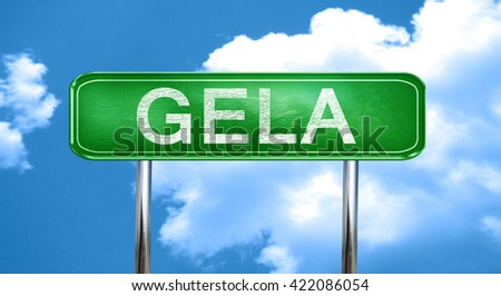 Gela vintage green road sign with highlights