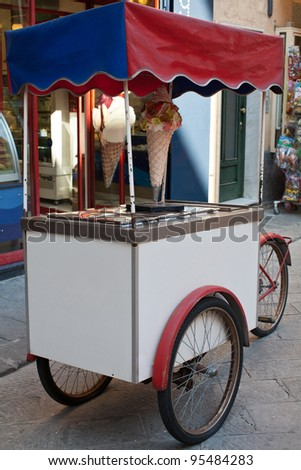 Gelati - ice cream cart built on a bicycle in Italy. - stock photo