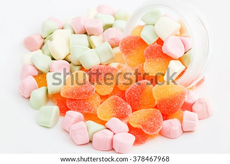 gelatin candies in heart shape sprinkled with sugar - stock photo