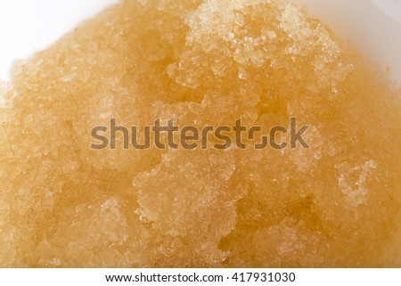 Gelatin with fresh water closeup in white bowl. Macro. Photo can be used as a whole background. - stock photo
