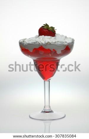 Gelatin with whipped cream - stock photo