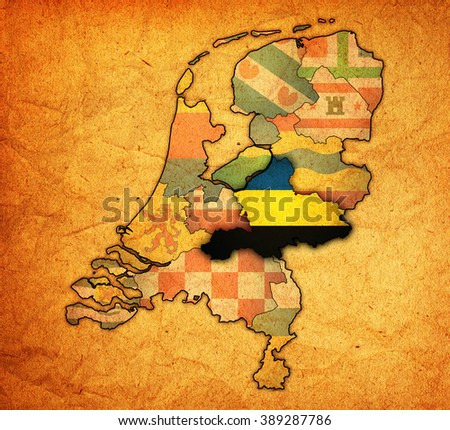 Gelderland Flag On Map Borders Provinces Stock Illustration