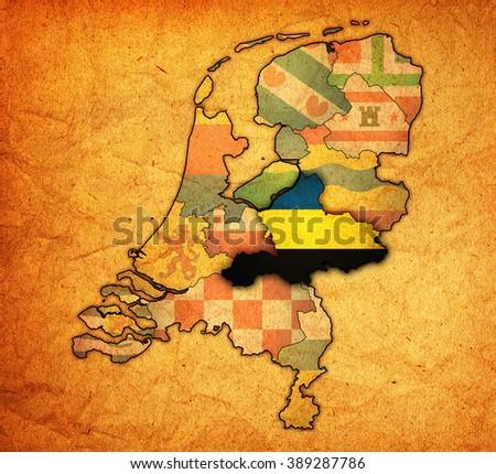Gelderland Flag On Map Borders Provinces Stock Illustration