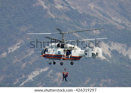Gelendzhik, Russia - September 9, 2010: Kamov Ka-32 rescue helicopter in flight during the training operation over the sea