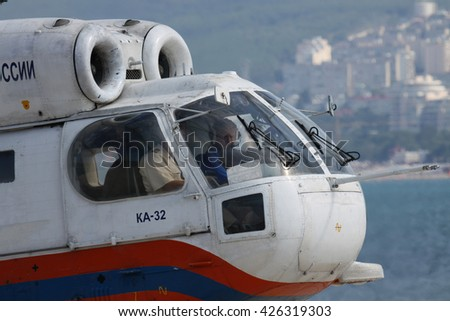 Gelendzhik, Russia - September 9, 2010: Kamov Ka-32 rescue helicopter with its crew in the cockpit