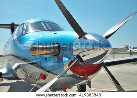 Gelendzhik, Russia - September 10, 2010: Pilatus PC-12 light turboprop passenger plane on the apron in the airport - front view