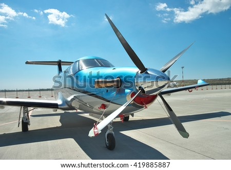 Gelendzhik, Russia - September 10, 2010: Pilatus PC-12 light turboprop passenger plane on the apron on a sunny day