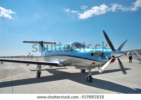 Gelendzhik, Russia - September 10, 2010: Pilatus PC-12 light turboprop passenger plane standing parked on the apron in the airport