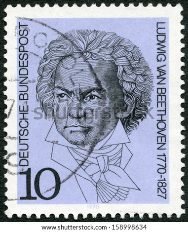GEMANY - CIRCA 1970: A stamp printed in Germany shows Ludwig van Beethoven (1770-1827), composer, circa 1970 - stock photo