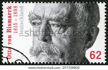 GEMANY - CIRCA 2015: A stamp printed in Germany shows Otto von Bismarck (1815-1898), Prussian statesman, circa 2015 - stock photo