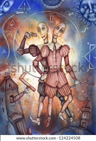 Gemini. Zodiac sign, symbol in watercolor style. Part of a set ot 12. Illustration by Eugene Ivanov. - stock photo