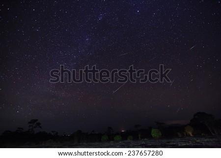 Geminid Meteor in the night sky   - stock photo