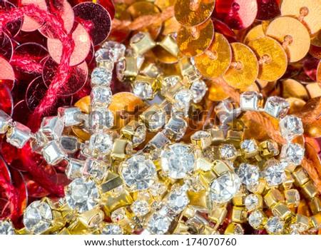 Gems and treasures shiny background - stock photo