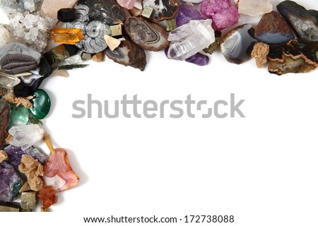 gems (minerals) collection isolated on the white background - stock photo