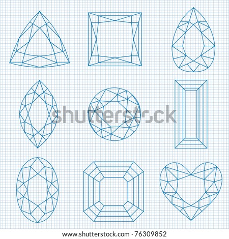 gemstone illustration on graph paper