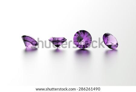 Gemstone on white. Jewelry background. Amethyst - stock photo