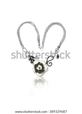 Gemstone Onyx Necklace black isolated on white