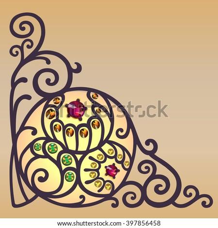 Gemstones golden filigree corner background  - stock photo