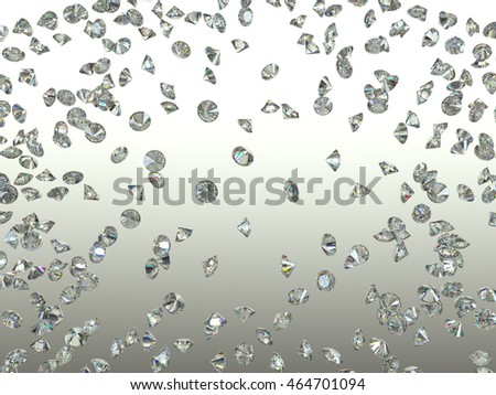 Gemstones scatter and fly away over gradient background. 3d render