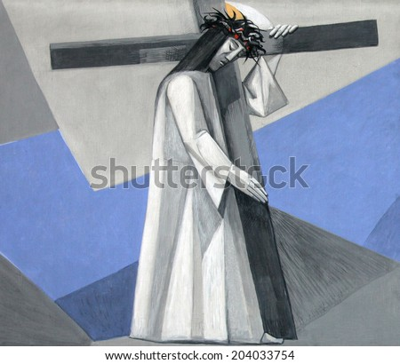 GEMUNDEN, GERMANY - JULY 18: 2nd Stations of the Cross, Jesus is given his cross in the Church of the Holy Trinity on July 18, 2013 in Bavarian village of Gemunden am Main, in the Diocese of Wuzburg. - stock photo