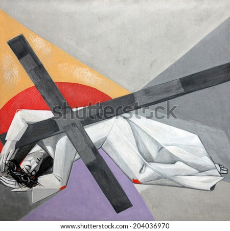 GEMUNDEN, GERMANY - JULY 18: 7th Stations of the Cross, Jesus falls the second time, Church of the Holy Trinity on July 18, 2013 in the Bavarian village of Gemunden am Main in the Diocese of Wuzburg. - stock photo