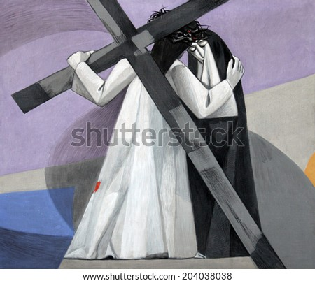 GEMUNDEN, GERMANY - JULY 18: 4th Stations of the Cross, Jesus meets His Mother, Church of the Holy Trinity on July 18, 2013 in the Bavarian village of Gemunden am Main in the Diocese of Wuzburg. - stock photo