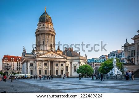 Gendarmenmarkt in Berlin, Germany. View on German Cathedral - stock photo