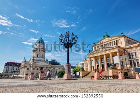 Gendarmenmarkt in Berlin, Germany. View on German Cathedral and Konzerthaus - stock photo