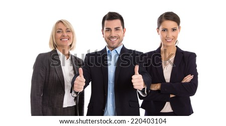Gender equality: one man with two business woman isolated over white. - stock photo