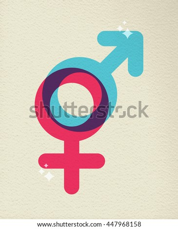 Gender icon concept, illustration of people sex boy and girl symbol in colorful style over texture background. - stock photo