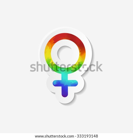 Gender identity icon. Female (Venus) symbol. Sticker with watercolor effect. Raster copy of vector file. - stock photo