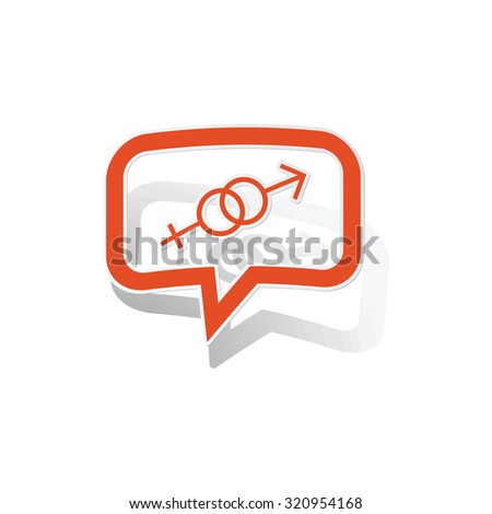Gender message sticker, orange chat bubble with image inside, on white background - stock photo