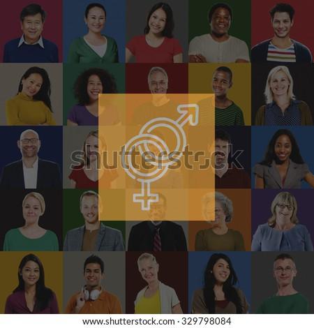 Gender Sexual Group Men Women Concept - stock photo