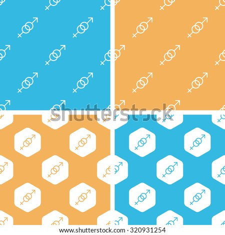 Gender signs pattern set, simple and hexagon, on yellow or blue background - stock photo