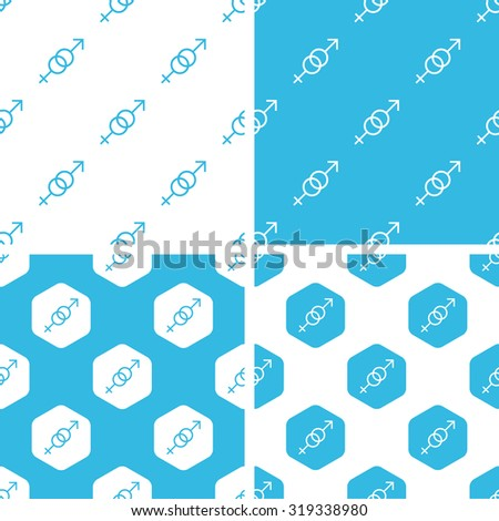 Gender signs patterns set, simple and hexagon, blue and white - stock photo