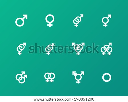Gender symbol icons on green background. - stock photo