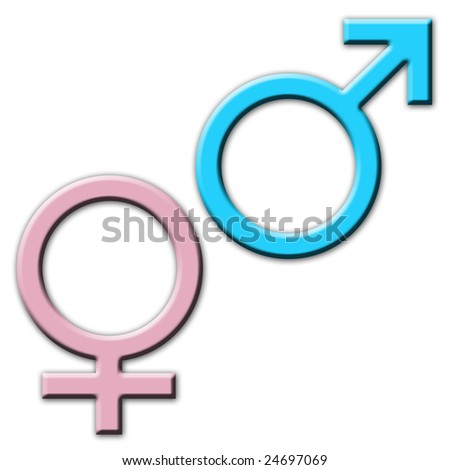 Gender symbols over white background