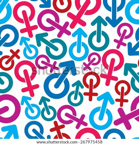 Gender symbols, sexual category theme seamless backdrop. Male and female symbols, can be used in design. - stock photo