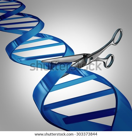Gene editing health care concept as molecular scissors cutting a dna strand as a medical science and biology technology symbol for changing genetic material to help cure disease. - stock photo