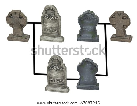 Genealogy research shown by several headstones and gravestones with family markings - path included