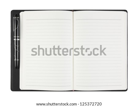 General blank black notebook with pen on white background, isolate (General design, non copyrighted) - stock photo