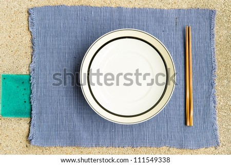 General dinner and lunch set with chop stick, can be use for various foods related concept design and background. - stock photo