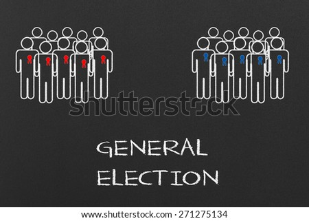 General Election Concept on a Black Chalkboard  - stock photo