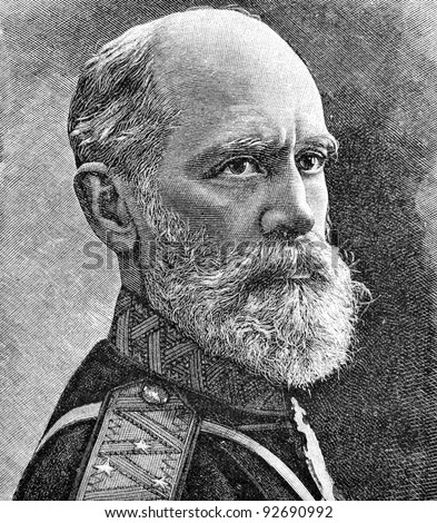 "General of artillery Axel Gadolin. Engraving on steel by Shyubler. Published in magazine ""Niva"", publishing house A.F. Marx, St. Petersburg, Russia, 1893"