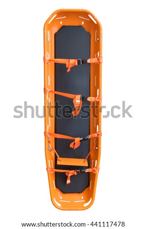 General stretcher for emergency paramedic service for carrying patient in emergency case, Emergency medical equipment in ambulance isolate on white  - stock photo