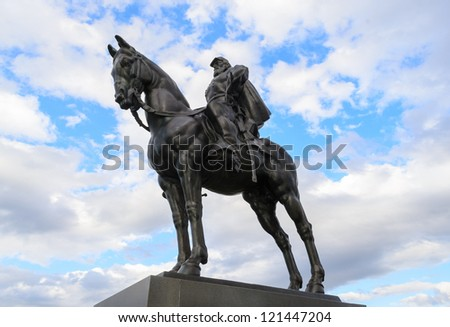 "General Thomas ""Stonewall"" Jackson statue at Manassas National Battlefield Park - stock photo"
