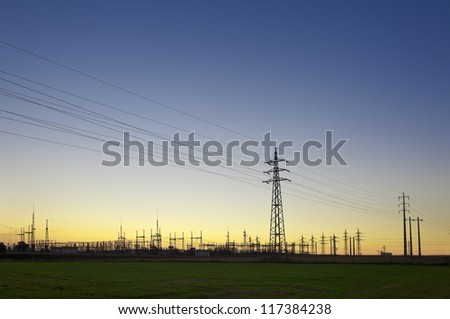 General view of a power substation in the light of the sunset on the outskirts of Evora, Portugal